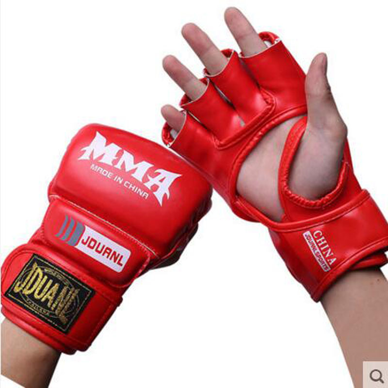 eea1406f2 جودة عالية نصف قفازات الملاكمة الملاكمة نصف إصبع قفازات luva الرجال mma  حارب ساندا ووشو معدات التدريب pu قفازات جلدية 2017