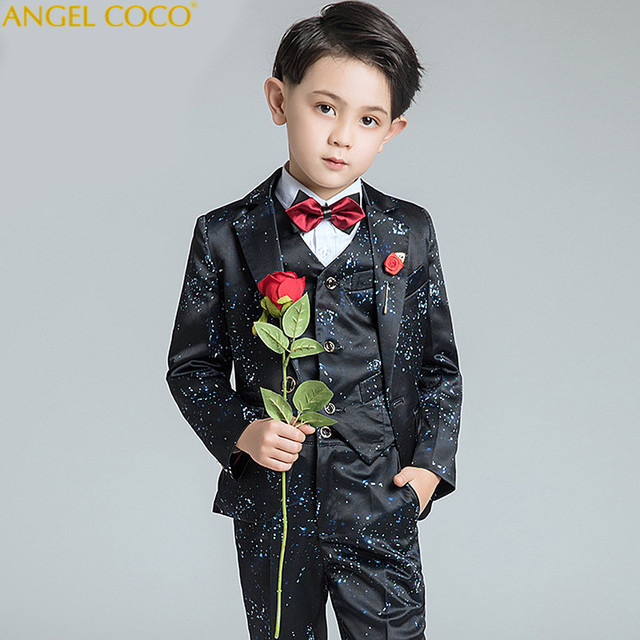 Boys Suits For Weddings Kids Prom Suits Black Wedding Suits For Boys Tuxedo  Children Clothing Set Boy Formal Costume Garcon 2018 3c093e6180dc