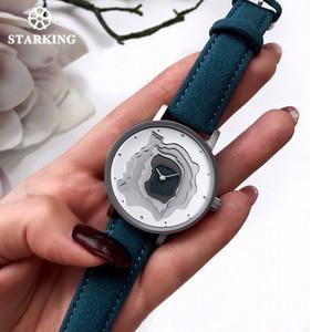 Image 3 - STARKING Brand Retro Vintage Type WristWatch Blue Leather High Quality Earth Conception Simplicity Watch Quartz Relogio Feminino