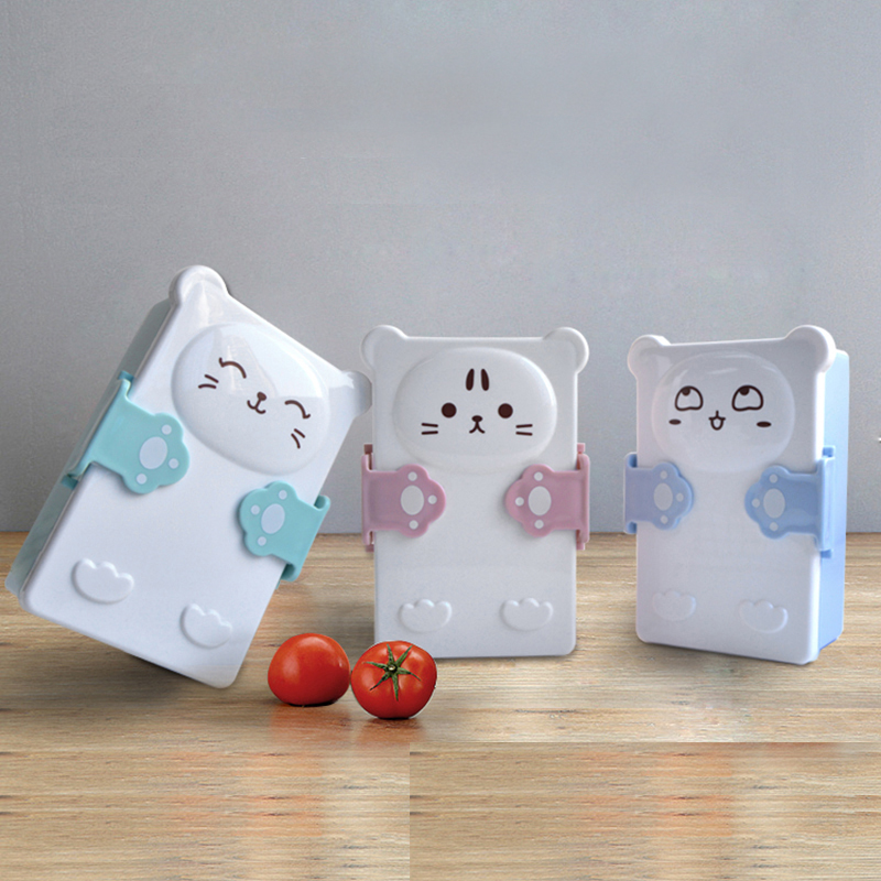 Cute Cat Cartoon Healthy Plastic Lunchboxes Microwave Lunch Bento Box Mini Kids Bady Food Storage Container For Sushi Fruit box