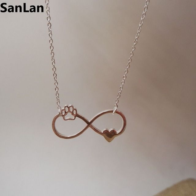 Beautifully Animal vintage jewelry Infinity Pendant Necklaces love Cats and Dogs  Paws and heart Heartbeat necklace