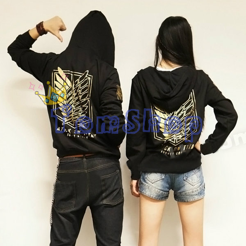 shingeki no kyojin attack on titan cosplay hooded jacket coat fashion GOLD LOGO unisex hoodie sweatshirt anime costume