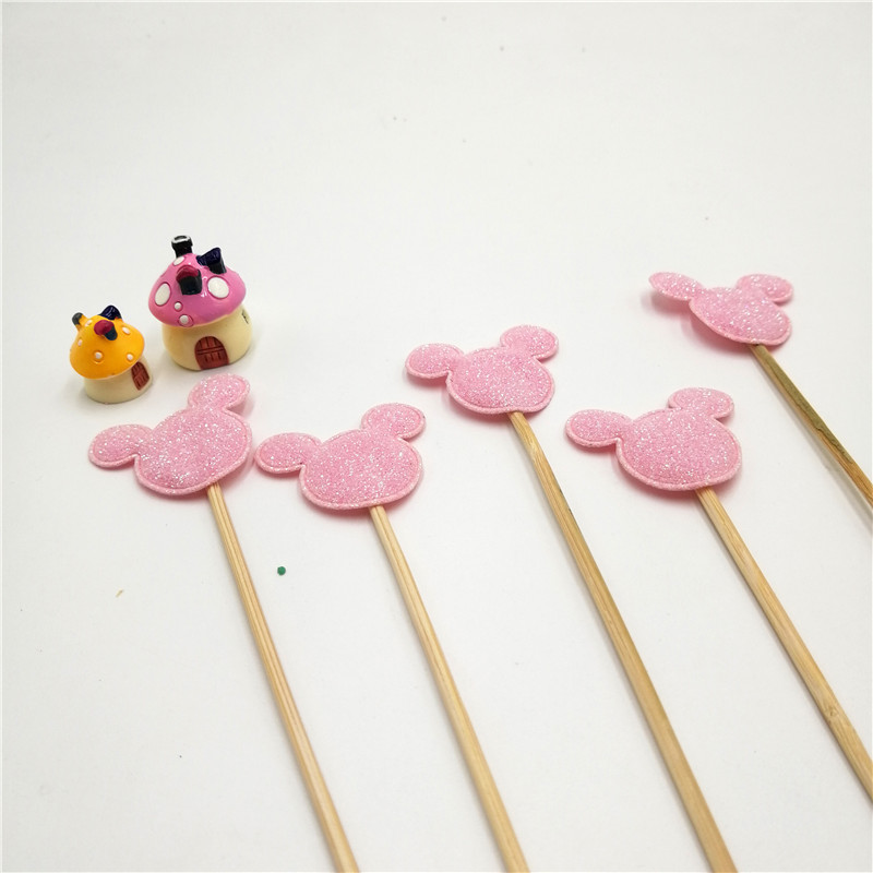 5Pieces lot Pink Mickey Mouse Handmade Lovely Cupcake Topper merry christm Cake Birthday Wedding Party Decoration Party Supplies in Cake Decorating Supplies from Home Garden