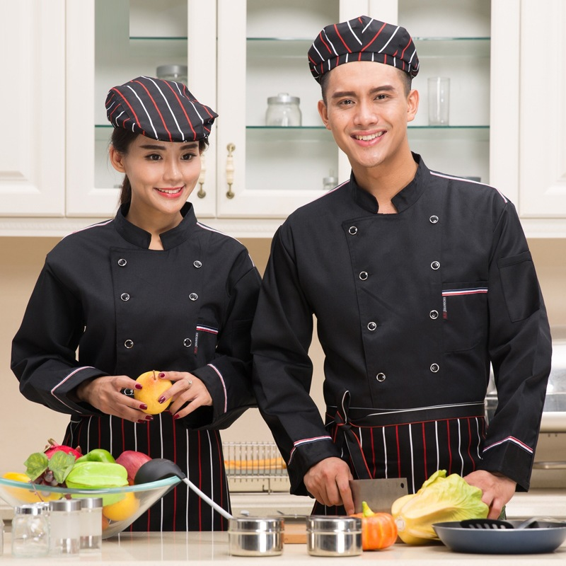 Fashion Stripe Woman Female Chef Jacket Long Sleeve Restaurant Hotel Chef Uniform Coverall Bakers Work Clothes Plus Size B-5903