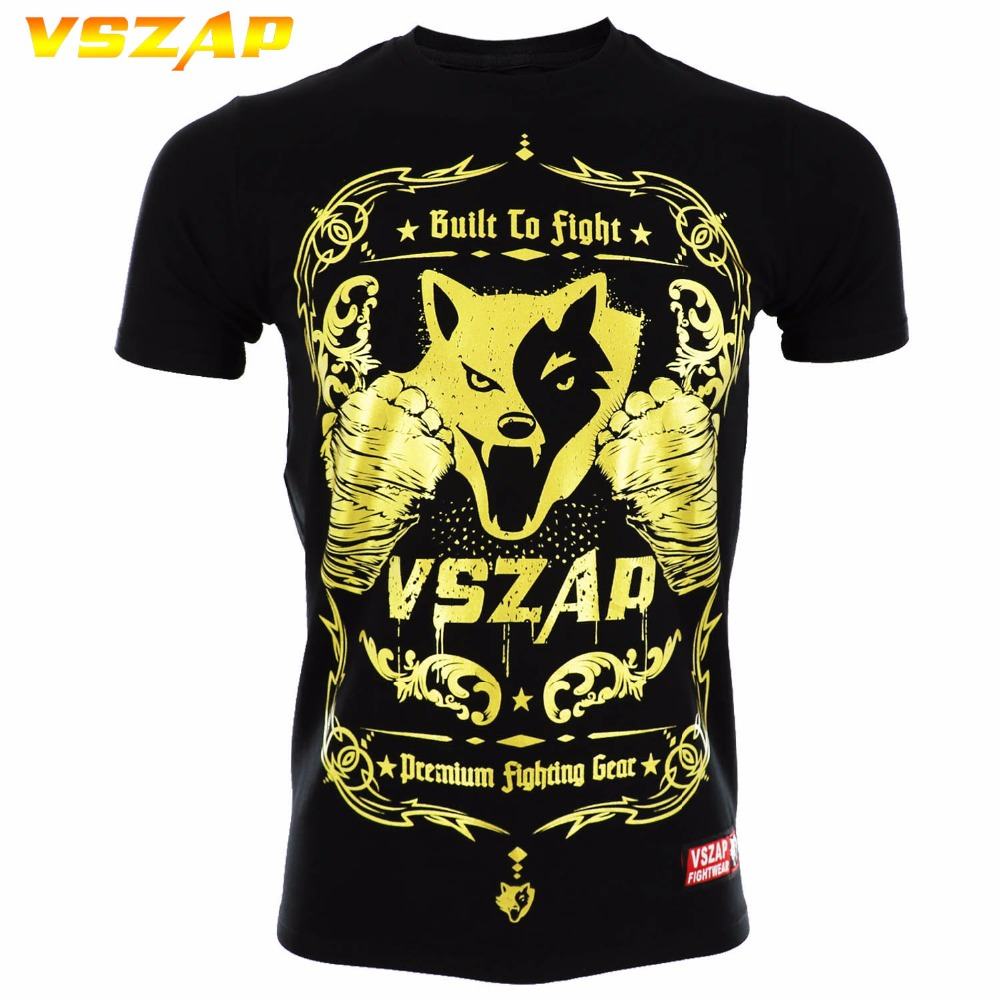 VSZAP Golden Boxing MMA Shirt Gym Shirt Short Sleeve Combat Arts Fitness Clothes Wulin Wind Movement Muscle Muay Thai T Shirt