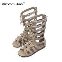 CCTWINS KIDS 2017 Summer Baby Girl Genuine Leather Knee High Gladiator Sandal Kid Fashion Children Beach