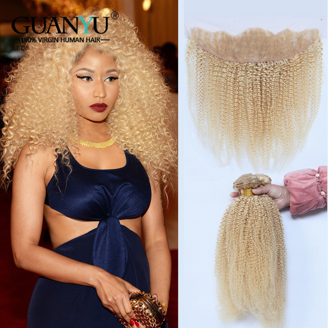 Guanyuhair Pre plucked 613 Blonde Brazilian Kinky Curly Hair Extensions 3 Bundles With 13X4 Lace Frontal 100% Remy Human Hair