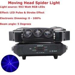Gorąca wyprzedaż! 1 sztuk ruchome światło głowy Mini pająk LED 9X3 W RGB W pełnym kolor wiązki światła z 12/43 DMX kanał szybka wysyłka w Oświetlenie sceniczne od Lampy i oświetlenie na