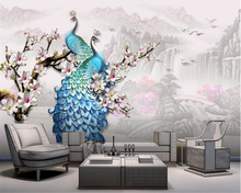 beibehang papel de parede Classic New Chinese Customizable Wallpaper Embossed Blue Peacock Magnolia Flower Background wall paper