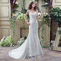 In Stock Lace Wedding Dresses Sleeveless White Mermaid Sweep Train Women Bandage Bridal Gowns Cheap Bohemian Wedding Gown 30266