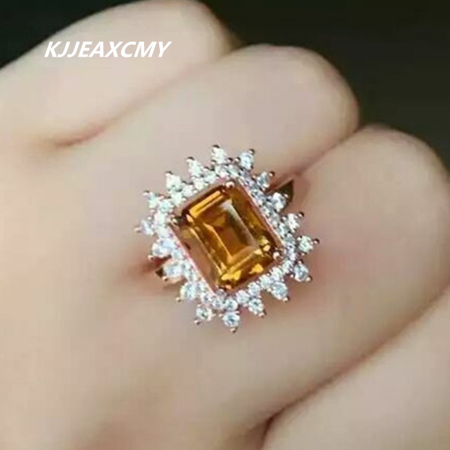 KJJEAXCMY naturel citrine anneau bijoux incrusté en gros S925 Sterling argent anneau bijoux