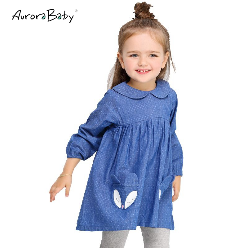 AuroraBaby Girls Dress Denim Cute Fox Dot Pattern Long Sleeve Toddler Girl Clothing 2-9Yrs Party Dress Vestidos de fiesta цена