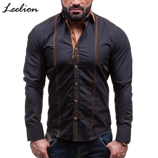 8ab444a2579 LeeLion 2018 Spring Fashion Men Shirt Brand Large Size Long Sleeve Shirts  Casual Hit Color Slim Fit Black Male Dress Shirts