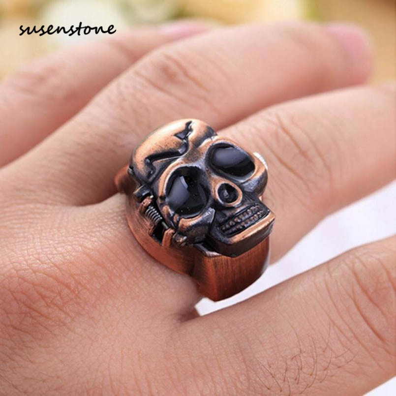 Susenstone 2018 Men Fashion Unisex Finger Skull Ring Watch ...