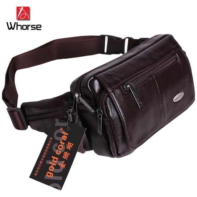Logotipo de la marca! Estilo Casual de Buena Calidad Los Hombres de Cuero Genuino Paquete de La Cintura Bolsas de Viaje Bolso de la Correa de Pecho Para Hombre Negro Marrón WA71853