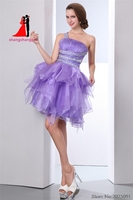 Real Pictures Lavender Ball Gown Short Prom Dress Homecoming Dress 2017 One Shoulder Lilac Cocktail Dress