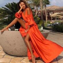 Missord женское сексуальное платье с глубоким v-образным вырезом и открытыми плечами, одноцветное платье с высоким разрезом, женское элегантное платье макси FT20018