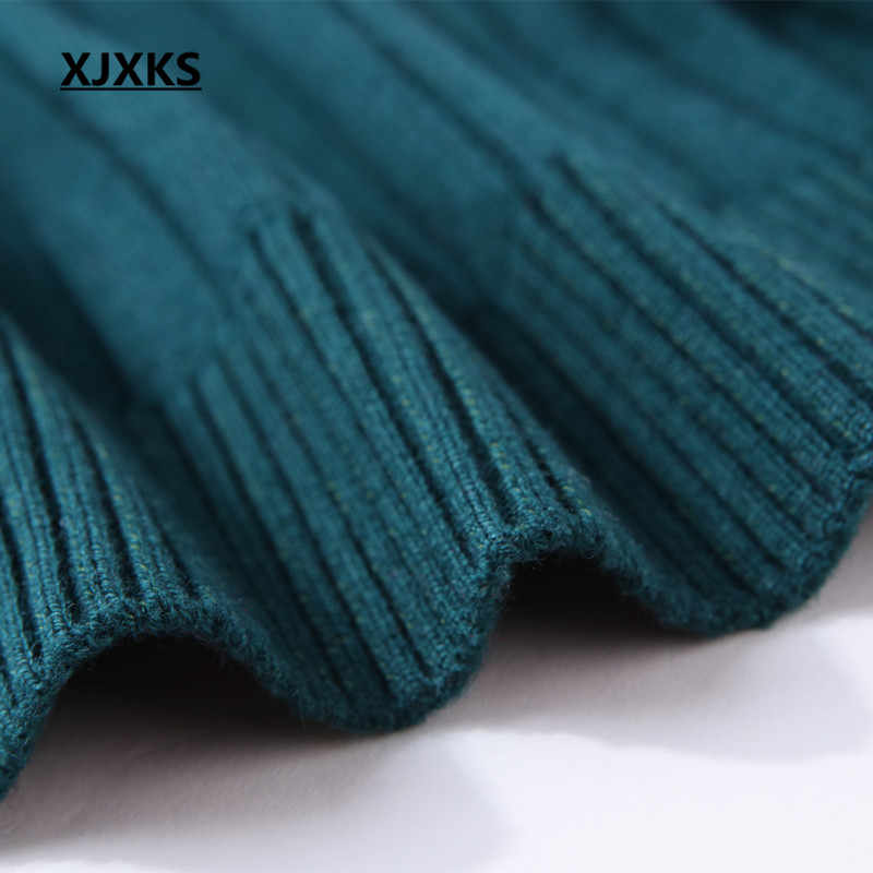 XJXKS женское плотное зимнее пальто вязаный кардиган на молнии высокого качества однотонный воротник вязаный свитер 6115