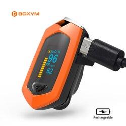 BOXYM Rechargeable Finger Pulse Oximeter Oximetro De Dedo blood oxygen Heart Rate Monitor Spo2 Sports Pulsioximetro
