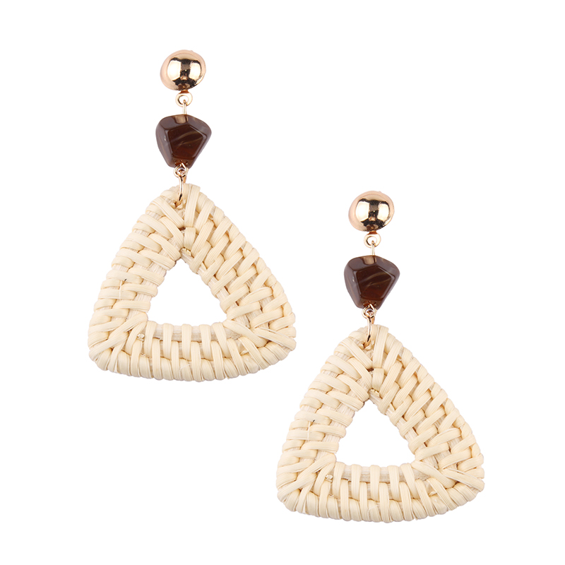 Drop Earrings Honest Korea Handmade Round Wooden Geometric Big Circle Bamboo Rattan Straw Weave Long Drop Earrings For Women Girl Summer Gift And To Have A Long Life.