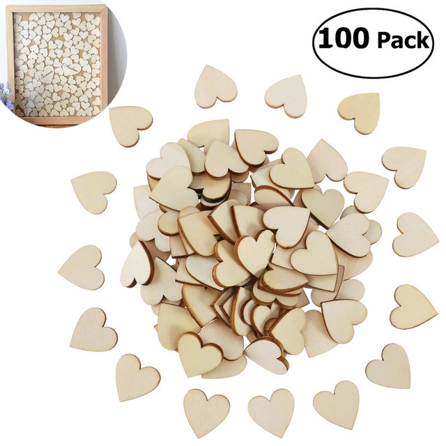 DIY Blank Heart Wood Slices Discs for Wedding DIY Crafts Embellishments Christmas Decoration(Wood Color)