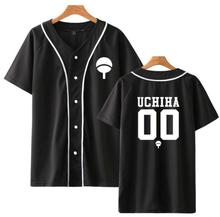 New Anime Design Naruto Baseball Shirt Short Sleeve Jacket Uchiha Hatake Uzumaki Clan Badge Print Shirts Unisex Clothes