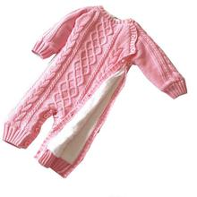 Knitting Baby Clothing Unisex Newborn Jumpsuits Infant Winter Rompers Warm Spring 3-6 Months Red Pink Blue Long Sleeve