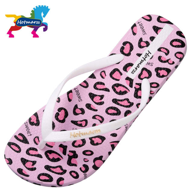 5c50d6feb1f6 Hotmarzz Women Sandals Summer Designer Flip Flops Flat Leopard Print Beach  Shoes Ladies Spa Yoga Slides