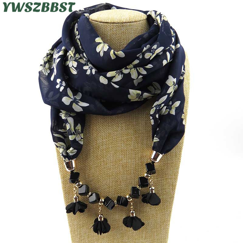 New Design Printing Flower Pattern Chiffon Beads Women Scarf Necklace Fashion Women Scarves with Necklaces Fashion Jewelry