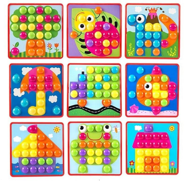 Montessori 10pcs / set Button Nail Puzzle Kids Toys For Children Boys - Teka-teki - Foto 4