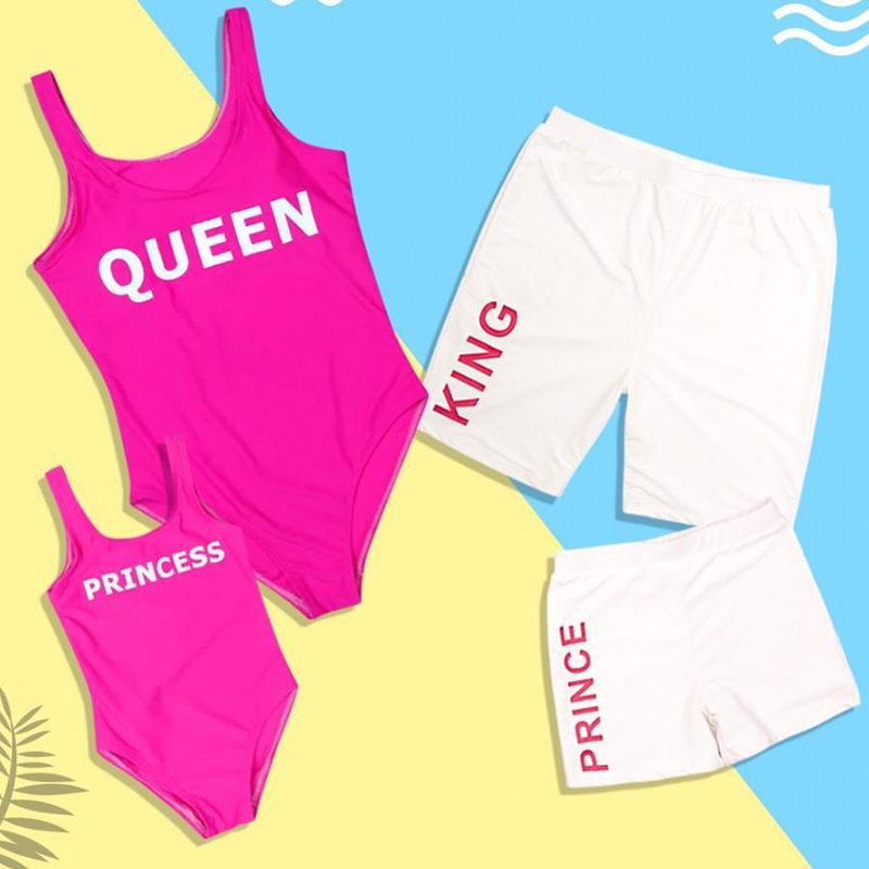 Family Matching Swimwear Mother Daughter Swimsuit Mommy Me Bikini Clothes Family Look King Queen Prince Princess Bathing Suit in Matching Family Outfits from Mother Kids