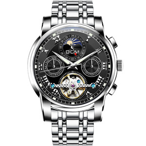 Image 2 - DOM החדש יפן מכאני שעון שעוני יד אוטומטית Mens שעונים למעלה מותג יוקרה מקרית עור עמיד למים שעון גברים M 75D 1MH