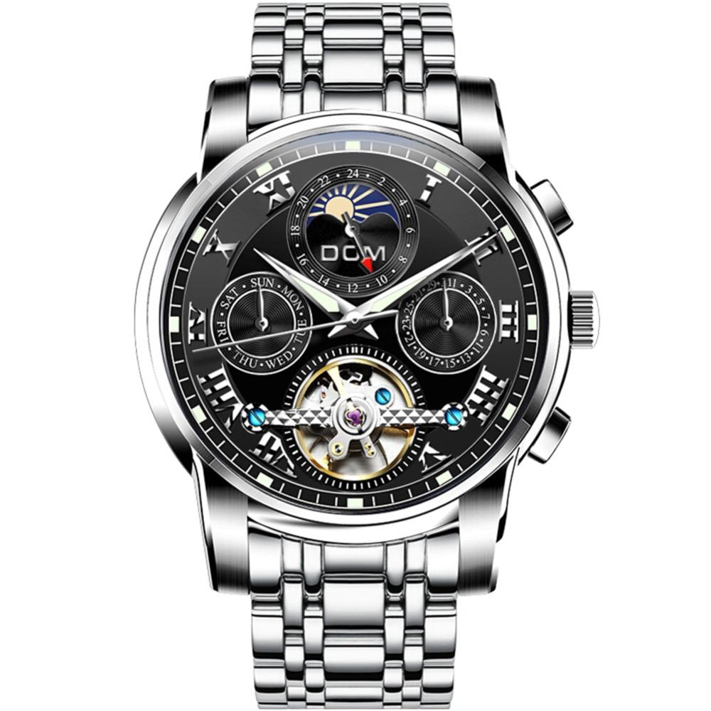 DOM nowy japonii mechaniczny zegarek zegarki na rękę automatyczny męski zegarek Top marka luksusowe dorywczo skóry wodoodporny zegarek mężczyźni M 75D 1MH w Zegarki mechaniczne od Zegarki na  Grupa 2
