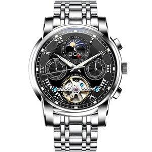 Image 2 - DOM جديد اليابان الميكانيكية ساعة المعصم التلقائي ساعة رجالي العلامة التجارية الفاخرة ساعة جلدية عادية مقاوم للماء الرجال M 75D 1MH