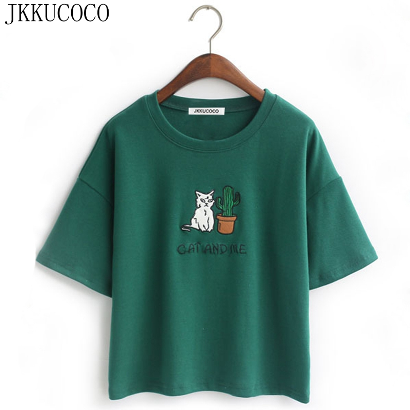 JKKUCOCO Embroidery Cat Cactus casual t shirt for Women cotton t shirt short loose style tops