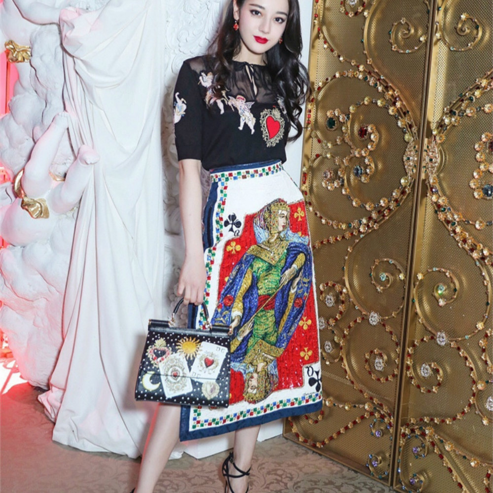 57c222d9e2 Runway 2018 Summer Dress Sexy Perspective Embroidery Angel Luxury Crystal  Beading Printed Poker Q Female Dresses Two Pieces New