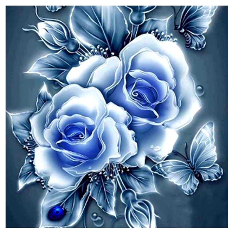 Full Square Round Drill 5D DIY Diamond Painting blue rose flower 3D Embroidery Cross Stitch Mosaic Rhinestone Home Decor Gift