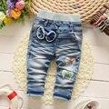 2017 New Classic Otoño Primavera Niñas Pantalones Vaqueros Suaves Pantalones de Moda Los Pantalones vaqueros de Los Niños del Bebé Pantalones de Mezclilla Suave 0-2Y