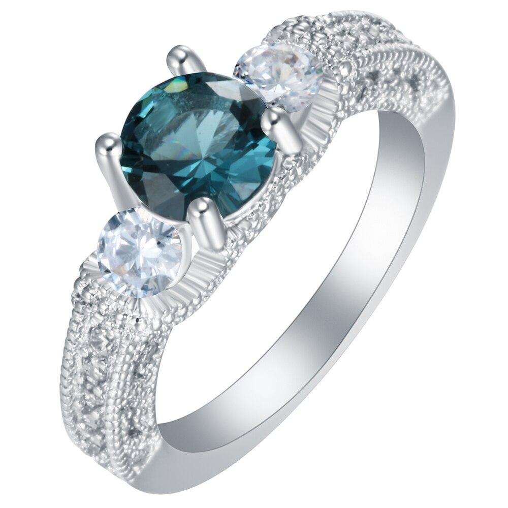 Engagement Rings Hot Sale New Vintage Blue Cz Finger