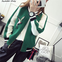 NEW Women S Autumn Winter Loose Baseball Sweaters Coats Woman College Wind Knit Cardigans Coat Embroidery