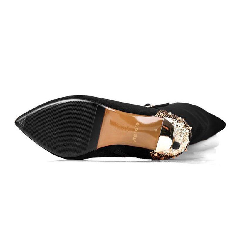 Kemekiss Hauts Chaussures Taille Bottes Cours Femmes Talons Éclair Dames Noir Cuir Genou 3341 En Pointu Sexy À Fermeture Botas Véritable TF1cJ5K3ul