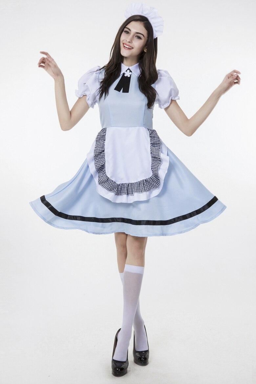 White apron fancy dress - 2017 German Beer Girl Costume Adult Womens Oktoberfest Fancy Dress Halloween Maid Sexy Lolita Apron Dress Cosplay