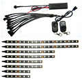 12V 8PCS RGB 5050SMD LED Car Motorcycle Glow Lights Flexible Neon Strips Kit Chopper Frame With Remote Controller Multi Color