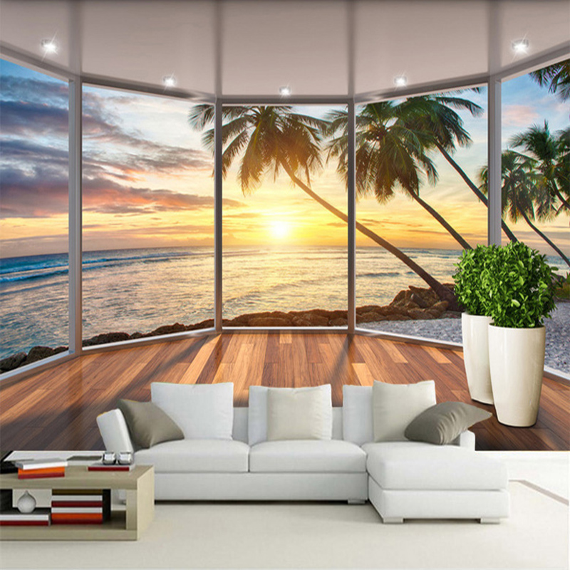 Custom 3D Mural Wallpaper Window Seaside Landscape Sunrise Photo Wall Painting Living Room Restaurant Background Wall Home Decor
