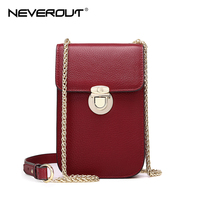 NEVEROUT Genuine Leather Mini Fashion Cellphones Purse Shoulder Bags Sac a Main Small Flap Bag Cross body Messenger Bag Cases