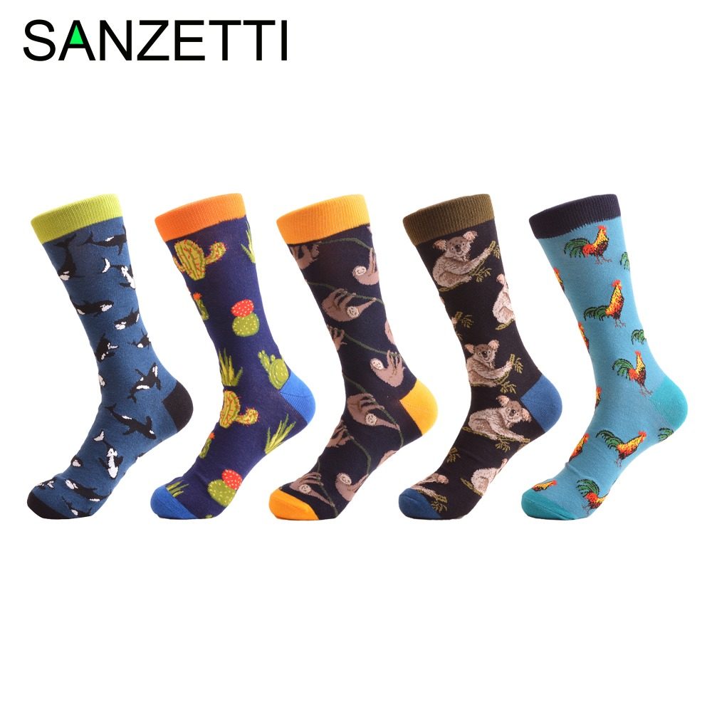 Sanzetti 5 Pairs/lot Fashion Mens Combed Cotton Skateboard Socks Whale Cock Koala Pattern Casual Brand Dress Crew Novelty Sock Activating Blood Circulation And Strengthening Sinews And Bones Men's Socks