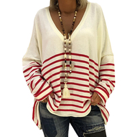 Womens Pullovers Long Sleeve Striped 2018 V Neck Batwing Sleeve Ladies Knited Striped Casual Computer Knitted Jumpers Pink Top