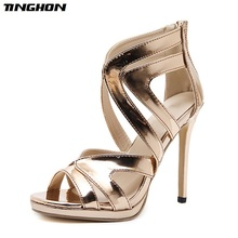 TINGHON High Quality Summer Sandals Women Stiletto Cut Out Sexy Cover Heel Champagne Gold Ladies Dancing Party Zip Shoes