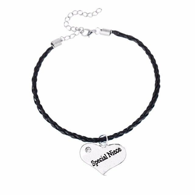 f6d3556b98f2 Moda cuero cuerda cadena pulsera especial sobrina cristal corazón pulseras  brazalete mujeres niñas familia sobrina regalos