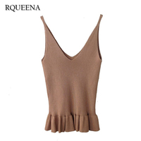 Summer Clothing New Patter Knitted Camisole Sleeveless Ruffles Vest Solid Color Slim Knitting Camis For Woman
